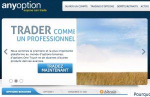 AnyOption page d'acceuil